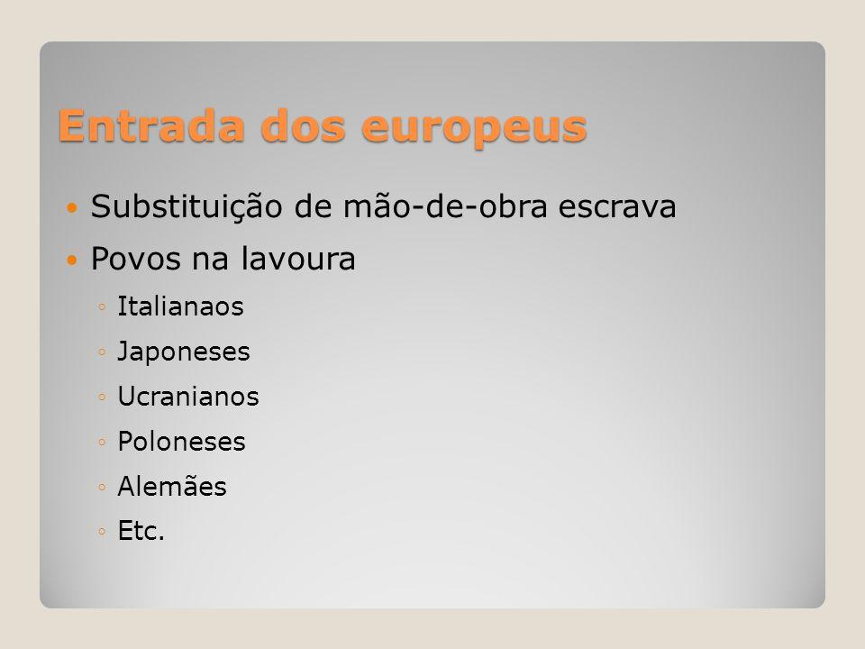 Entrada dos europeus  Substituição de mão-de-obra escrava  Povos na lavoura ◦Italianaos ◦Japoneses ◦Ucranianos ◦Poloneses ◦Alemães ◦Etc.