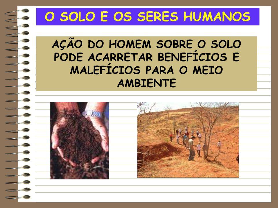 O SOLO E OS SERES HUMANOS AÇÃO DO HOMEM SOBRE O SOLO PODE ACARRETAR BENEFÍCIOS E MALEFÍCIOS PARA O MEIO AMBIENTE