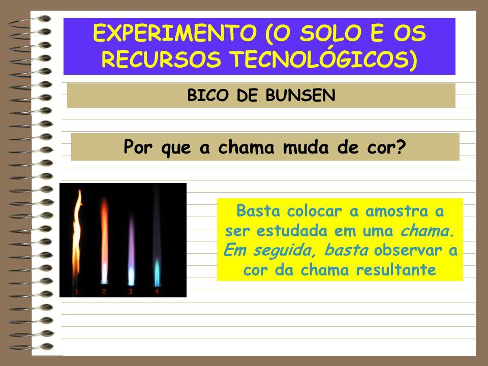 EXPERIMENTO (O SOLO E OS RECURSOS TECNOLÓGICOS) BICO DE BUNSEN Por que a chama muda de cor? Basta colocar a amostra a ser estudada em uma chama. Em se