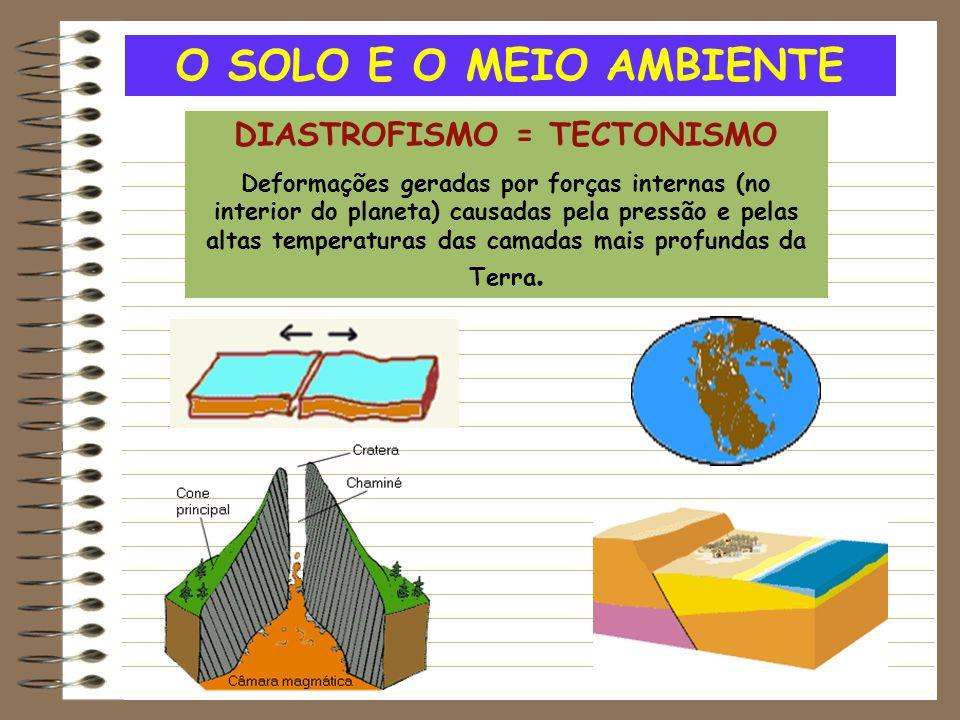O SOLO E O MEIO AMBIENTE DIASTROFISMO = TECTONISMO Deformações geradas por forças internas (no interior do planeta) causadas pela pressão e pelas alta