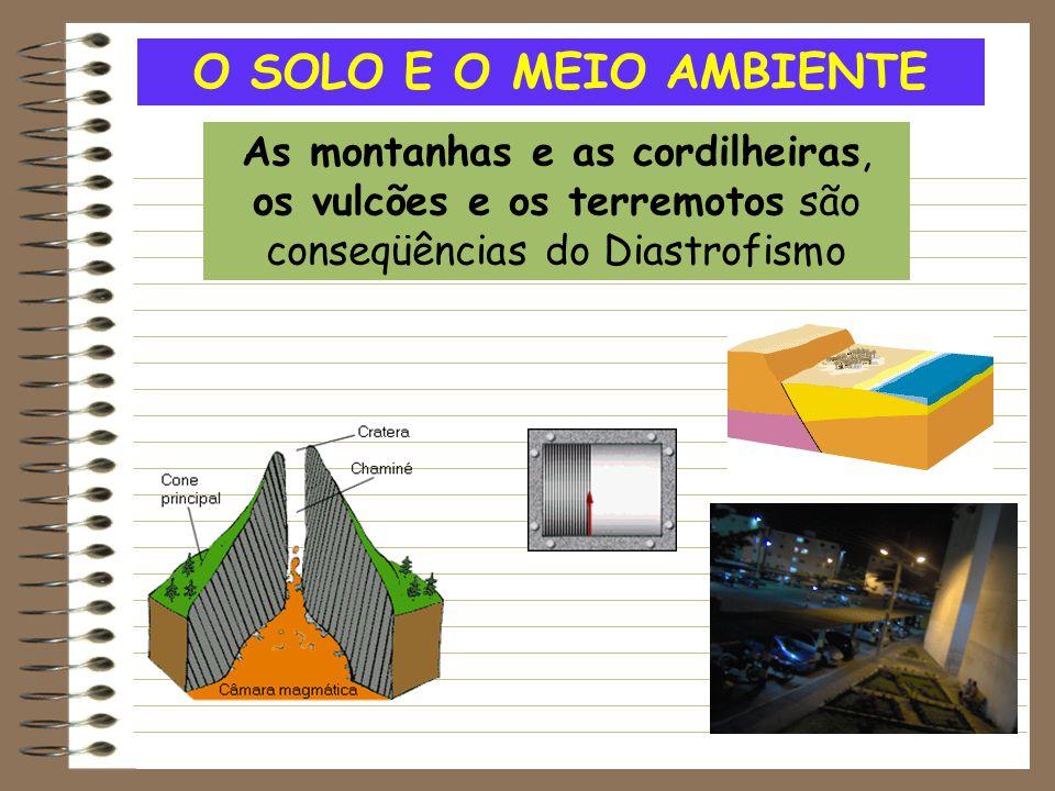 O SOLO E O MEIO AMBIENTE As montanhas e as cordilheiras, os vulcões e os terremotos são conseqüências do Diastrofismo