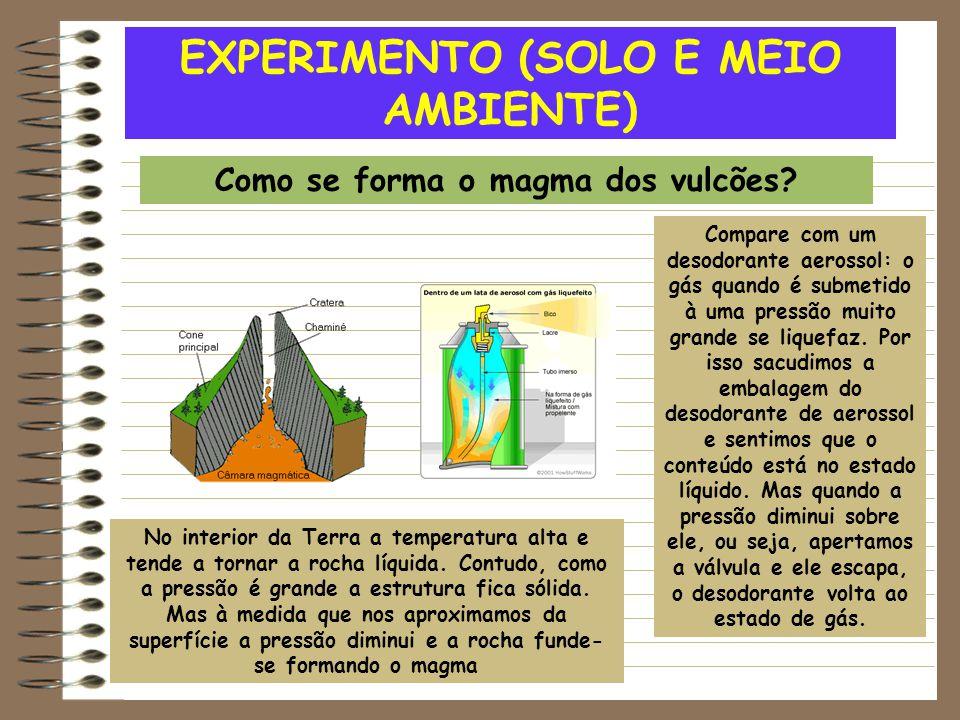 EXPERIMENTO (SOLO E MEIO AMBIENTE) Como se forma o magma dos vulcões? Compare com um desodorante aerossol: o gás quando é submetido à uma pressão muit