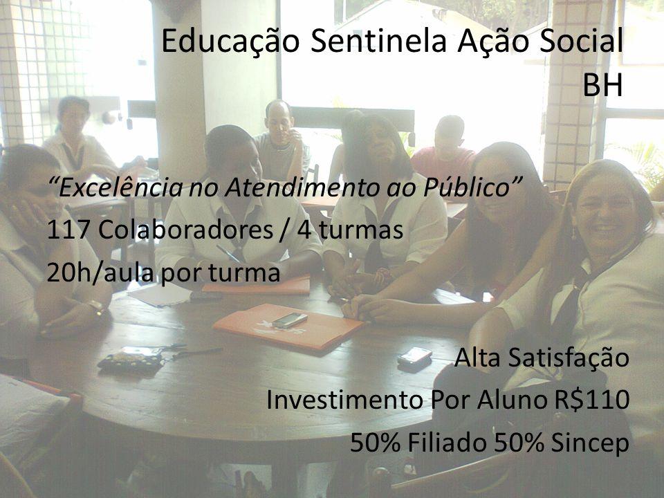 Educação Sentinela Ação Social BH Desenvolvimento em Lideranças 17 Gestores de Equipes / 1 turma 22h/aula Alta satisfação Investimento Por Aluno R$164 50% Filiado 50% Sincep