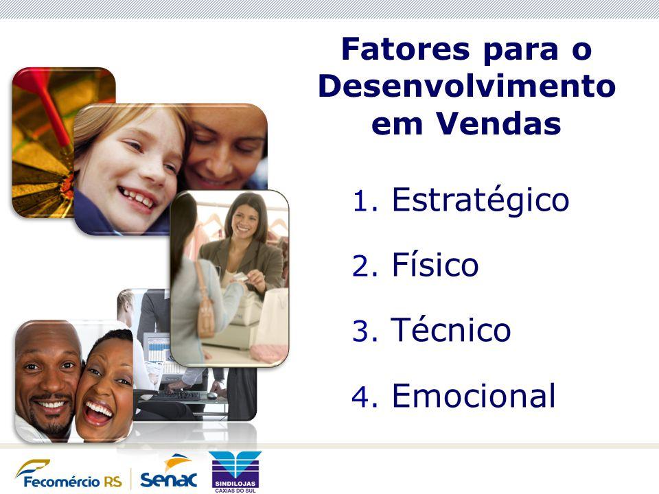 Fatores para o Desenvolvimento em Vendas 1. Estratégico 2. Físico 3. Técnico 4. Emocional