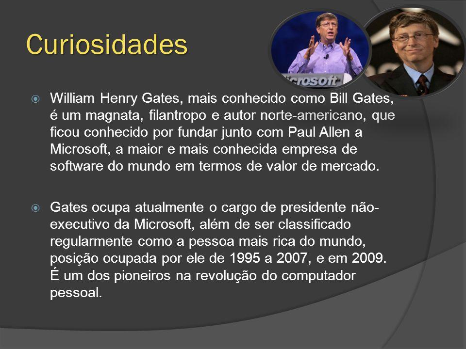 Curiosidades  William Henry Gates, mais conhecido como Bill Gates, é um magnata, filantropo e autor norte-americano, que ficou conhecido por fundar junto com Paul Allen a Microsoft, a maior e mais conhecida empresa de software do mundo em termos de valor de mercado.