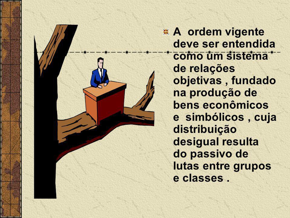 A ordem vigente deve ser entendida como um sistema de relações objetivas, fundado na produção de bens econômicos e simbólicos, cuja distribuição desig