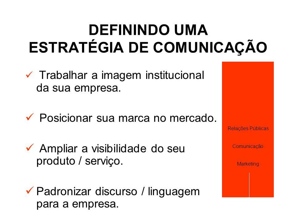 DEFININDO UMA ESTRATÉGIA DE COMUNICAÇÃO  Trabalhar a imagem institucional da sua empresa.  Posicionar sua marca no mercado.  Ampliar a visibilidade