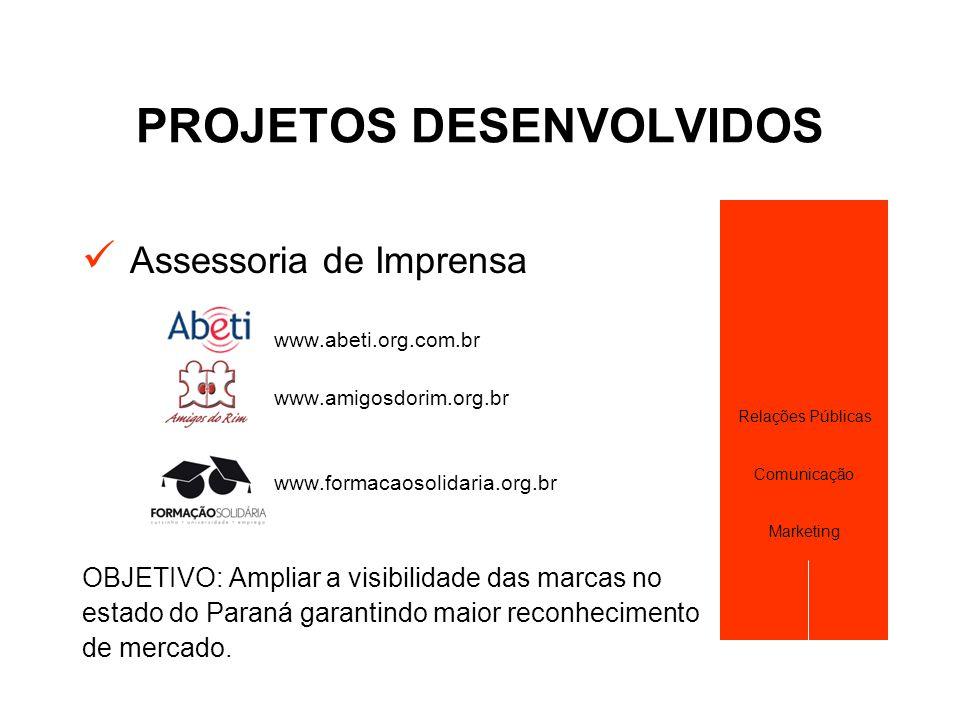PROJETOS DESENVOLVIDOS  Assessoria de Imprensa www.abeti.org.com.br www.amigosdorim.org.br www.formacaosolidaria.org.br OBJETIVO: Ampliar a visibilid
