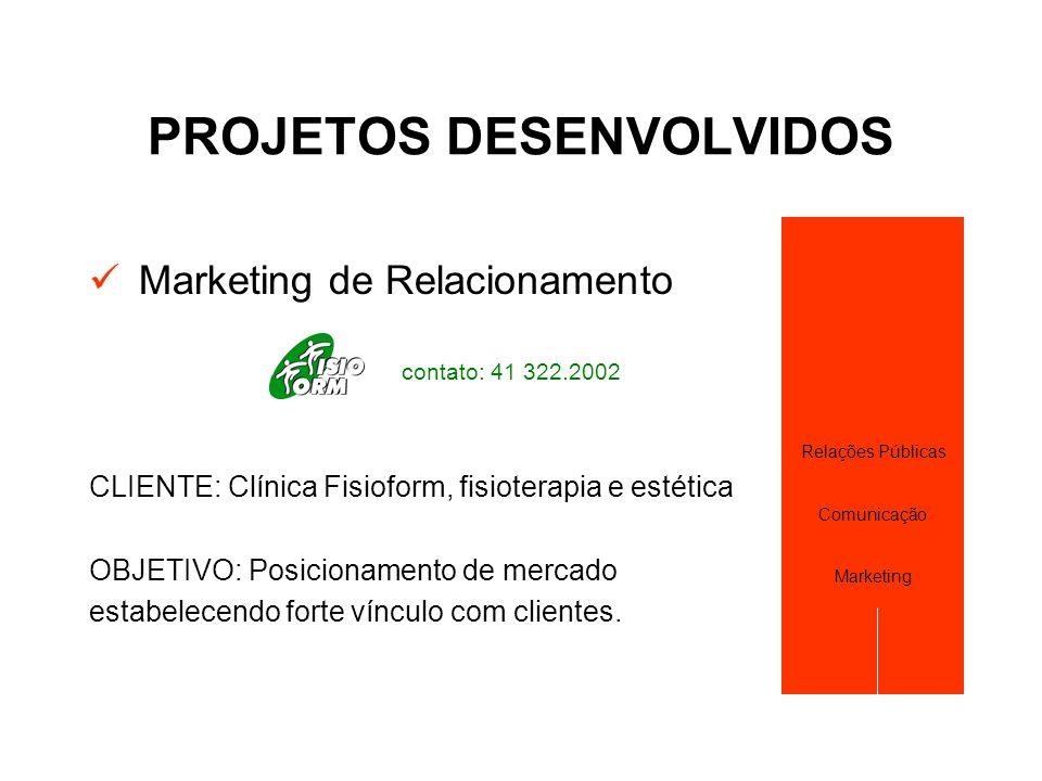 PROJETOS DESENVOLVIDOS  Marketing de Relacionamento contato: 41 322.2002 CLIENTE: Clínica Fisioform, fisioterapia e estética OBJETIVO: Posicionamento