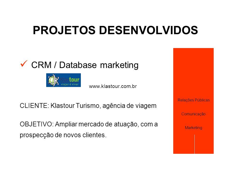 PROJETOS DESENVOLVIDOS  CRM / Database marketing www.klastour.com.br CLIENTE: Klastour Turismo, agência de viagem OBJETIVO: Ampliar mercado de atuaçã