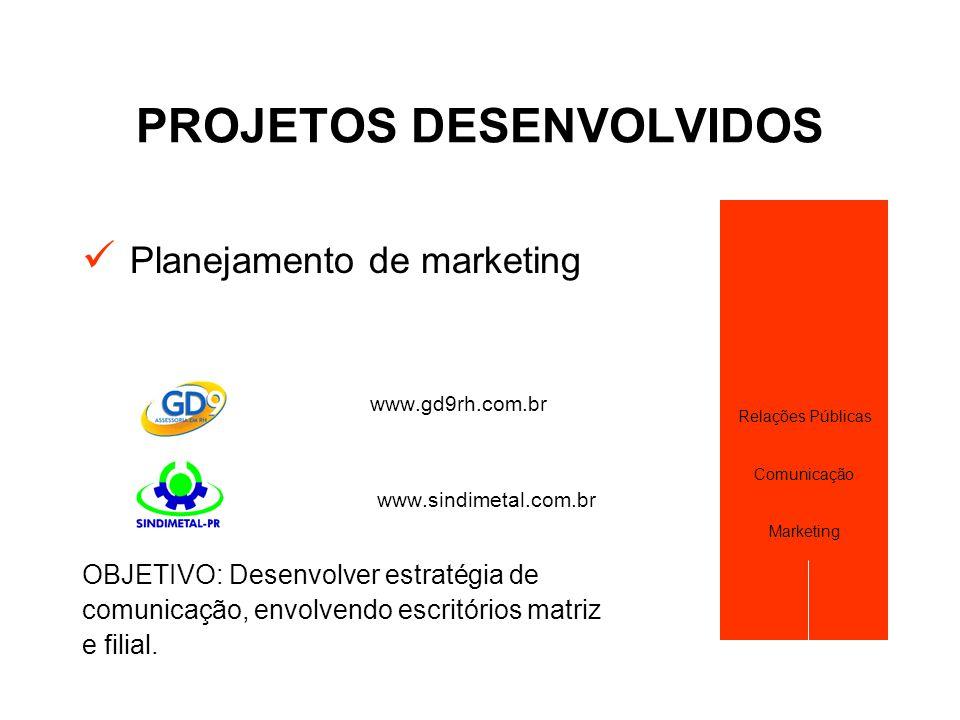 PROJETOS DESENVOLVIDOS  Planejamento de marketing www.gd9rh.com.br www.sindimetal.com.br OBJETIVO: Desenvolver estratégia de comunicação, envolvendo
