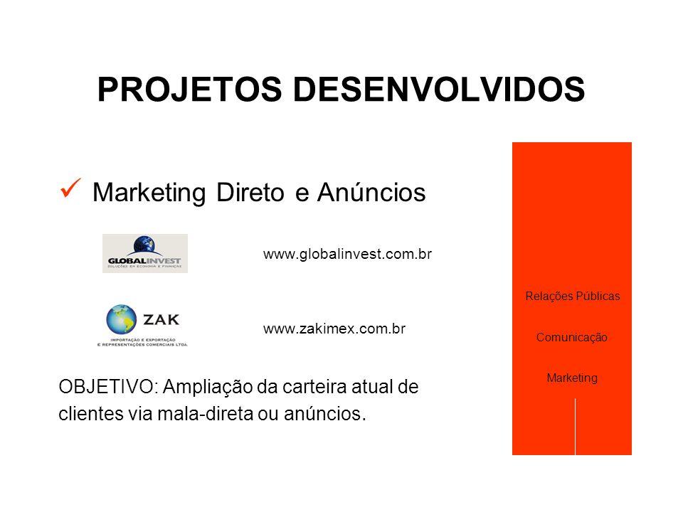 PROJETOS DESENVOLVIDOS  Marketing Direto e Anúncios www.globalinvest.com.br www.zakimex.com.br OBJETIVO: Ampliação da carteira atual de clientes via