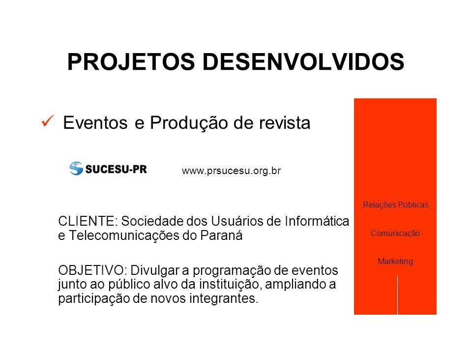 PROJETOS DESENVOLVIDOS  Eventos e Produção de revista www.prsucesu.org.br CLIENTE: Sociedade dos Usuários de Informática e Telecomunicações do Paraná