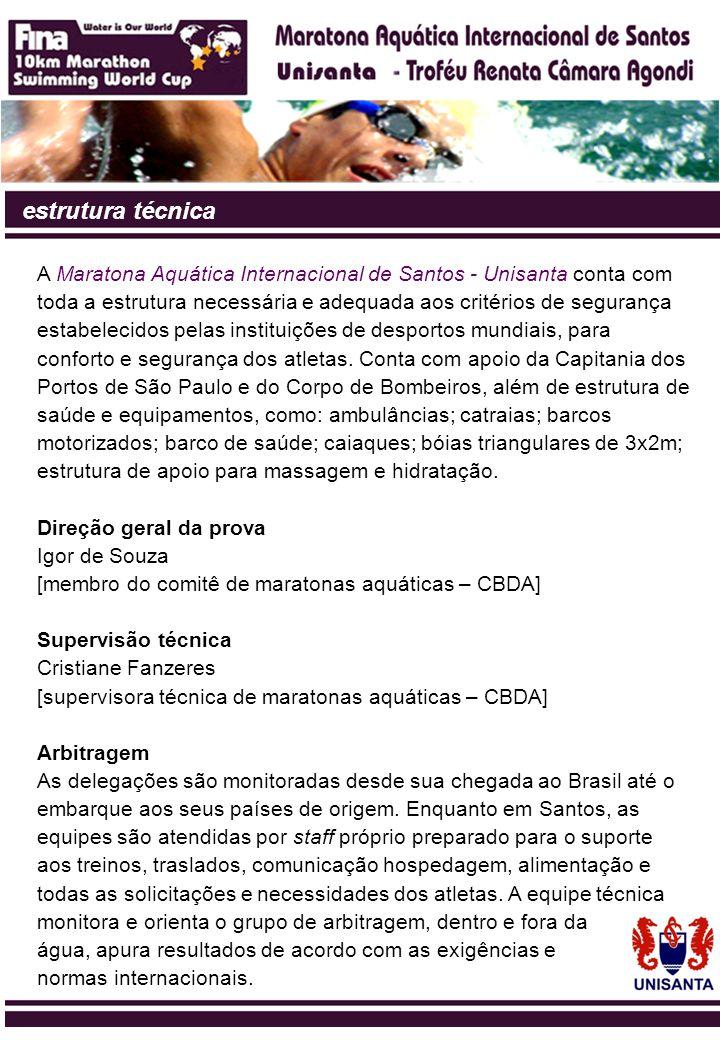 estrutura técnica A Maratona Aquática Internacional de Santos - Unisanta conta com toda a estrutura necessária e adequada aos critérios de segurança e