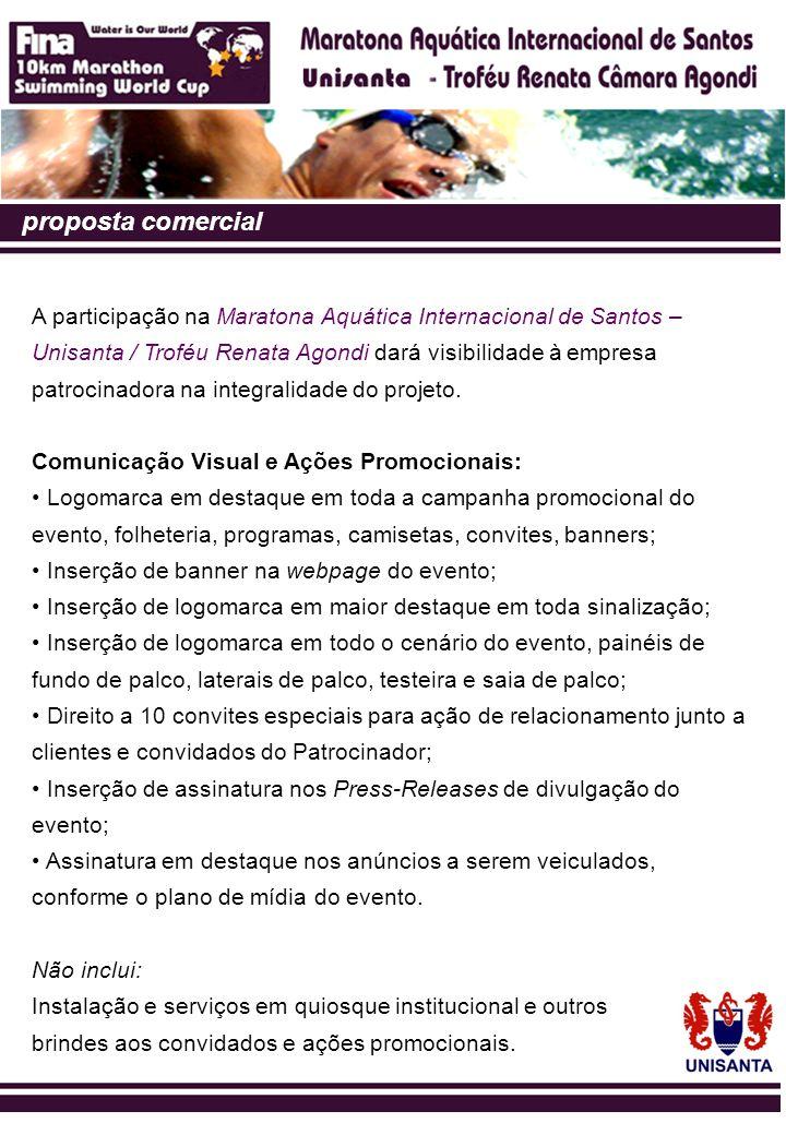 proposta comercial A participação na Maratona Aquática Internacional de Santos – Unisanta / Troféu Renata Agondi dará visibilidade à empresa patrocina