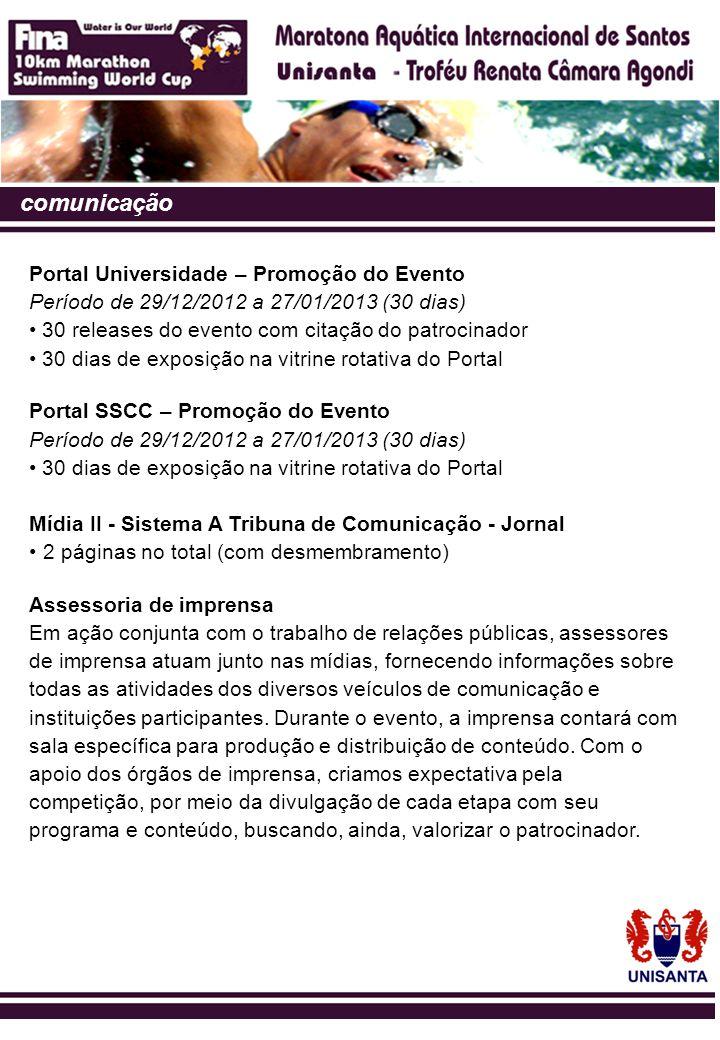 comunicação Portal Universidade – Promoção do Evento Período de 29/12/2012 a 27/01/2013 (30 dias) • 30 releases do evento com citação do patrocinador