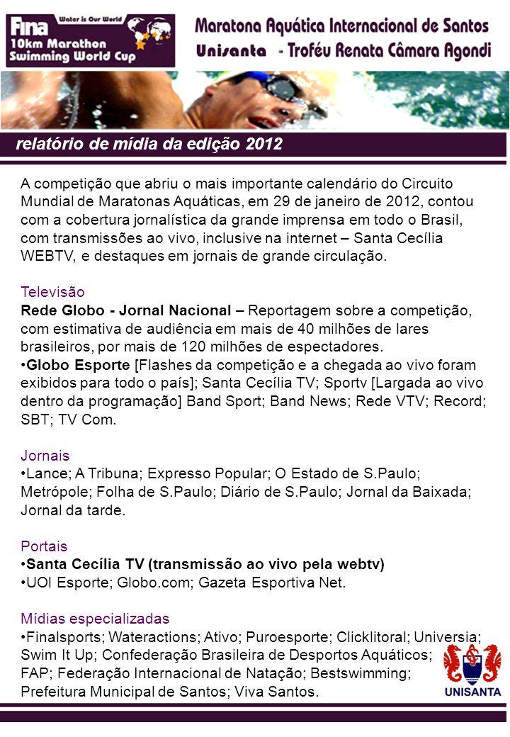 relatório de mídia da edição 2012 A competição que abriu o mais importante calendário do Circuito Mundial de Maratonas Aquáticas, em 29 de janeiro de