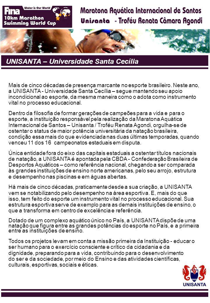 UNISANTA – Universidade Santa Cecília Mais de cinco décadas de presença marcante no esporte brasileiro. Neste ano, a UNISANTA - Universidade Santa Cec