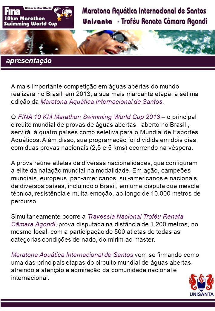 histórico 2007 - A primeira edição da Maratona Aquática Internacional de Santos nasceu como a etapa inaugural do mais importante circuito internacional de maratonas aquáticas, o 10 KM Marathon Swimming World Cup Fina 2007.