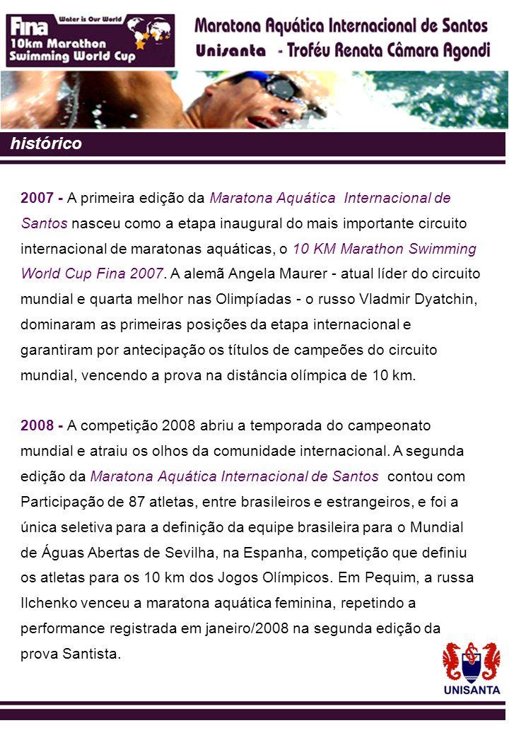 histórico 2009 - Santos, pelo terceiro ano consecutivo, assume a condição de capital mundial das provas em águas abertas, abrigando as disputas da mais concorrida prova de maratona aquática do mundo.