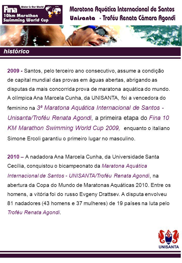 Santos – vocação natural para o esporte A cidade de Santos vem sendo cotada para sediar competições, eventos esportivos nacionais e internacionais de grande envergadura, como: Troféu Brasil Triathlon; Convenção Fitness Brasil; Maratona Aquática Internacional.