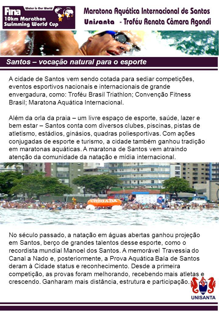 Santos – vocação natural para o esporte A cidade de Santos vem sendo cotada para sediar competições, eventos esportivos nacionais e internacionais de