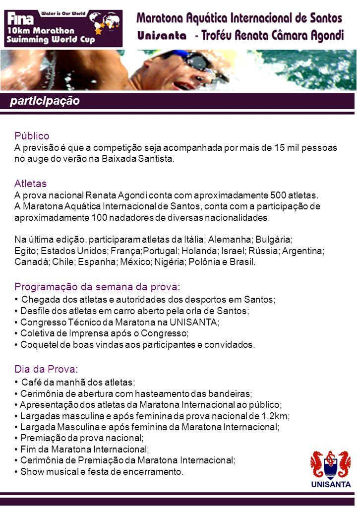 premiação Os vencedores da Maratona Aquática Internacional de Santos – Unisanta receberão prêmios em dinheiro, medalhas e troféus.