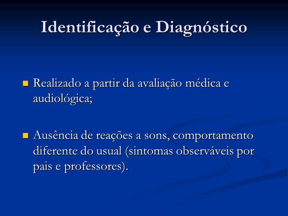 Identificação e Diagnóstico  Realizado a partir da avaliação médica e audiológica;  Ausência de reações a sons, comportamento diferente do usual (si