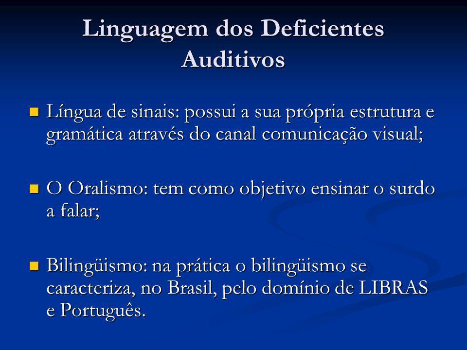 Linguagem dos Deficientes Auditivos  Língua de sinais: possui a sua própria estrutura e gramática através do canal comunicação visual;  O Oralismo:
