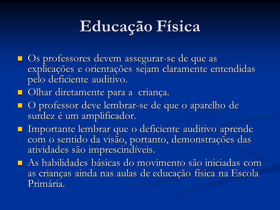 Educação Física  Os professores devem assegurar-se de que as explicações e orientações sejam claramente entendidas pelo deficiente auditivo.  Olhar