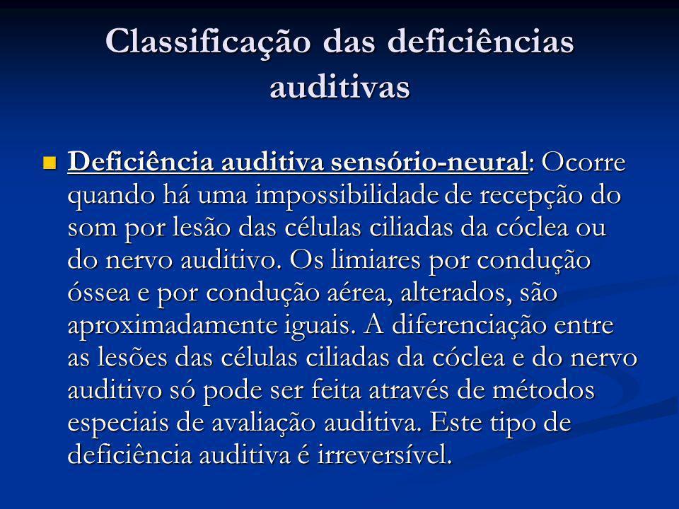 Classificação das deficiências auditivas  Deficiência auditiva sensório-neural: Ocorre quando há uma impossibilidade de recepção do som por lesão das