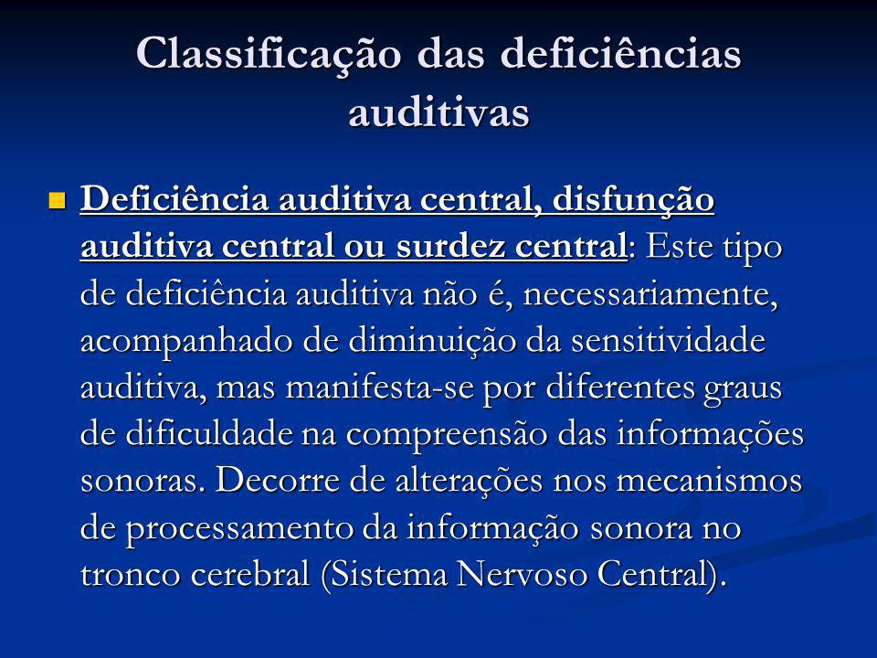 Classificação das deficiências auditivas  Deficiência auditiva central, disfunção auditiva central ou surdez central: Este tipo de deficiência auditi