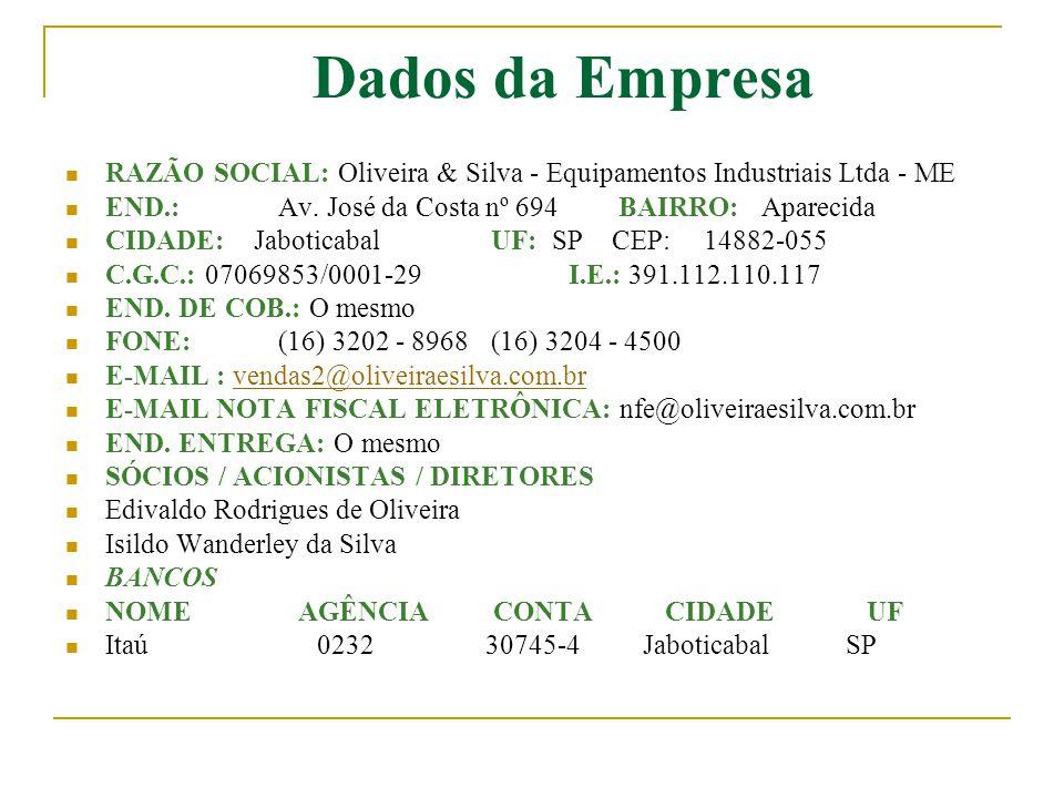 Dados da Empresa  RAZÃO SOCIAL: Oliveira & Silva - Equipamentos Industriais Ltda - ME  END.:Av. José da Costa nº 694 BAIRRO: Aparecida  CIDADE: Jab