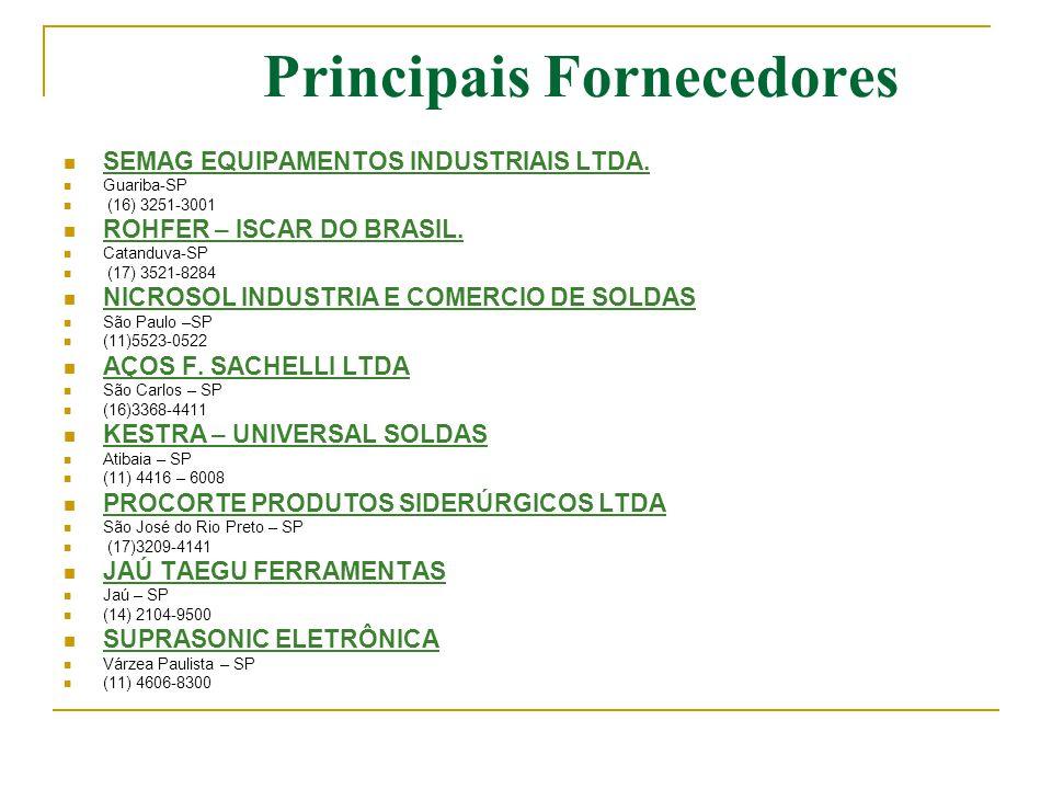 Principais Fornecedores  SEMAG EQUIPAMENTOS INDUSTRIAIS LTDA.  Guariba-SP  (16) 3251-3001  ROHFER – ISCAR DO BRASIL.  Catanduva-SP  (17) 3521-82