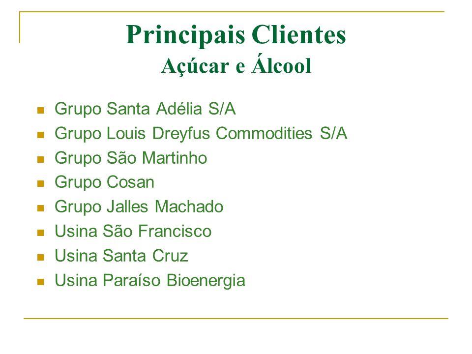 Principais Clientes Açúcar e Álcool  Grupo Santa Adélia S/A  Grupo Louis Dreyfus Commodities S/A  Grupo São Martinho  Grupo Cosan  Grupo Jalles M