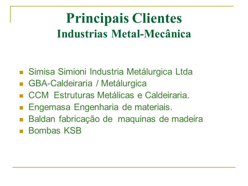 Principais Clientes Industrias Metal-Mecânica  Simisa Simioni Industria Metálurgica Ltda  GBA-Caldeiraria / Metálurgica  CCM Estruturas Metálicas e
