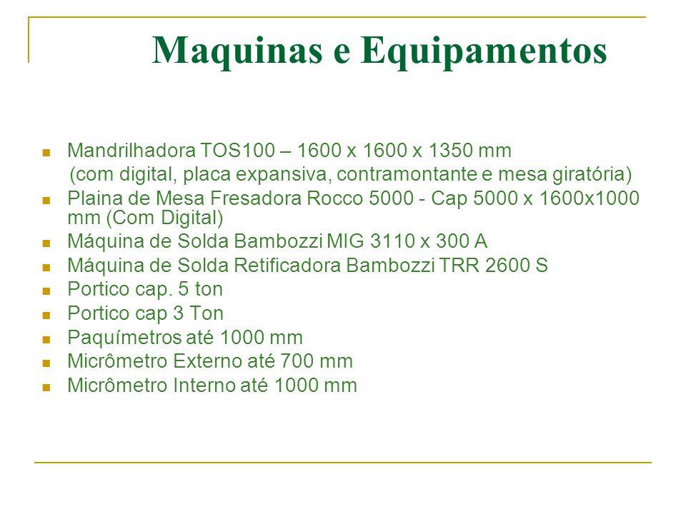 Maquinas e Equipamentos  Mandrilhadora TOS100 – 1600 x 1600 x 1350 mm (com digital, placa expansiva, contramontante e mesa giratória)  Plaina de Mes