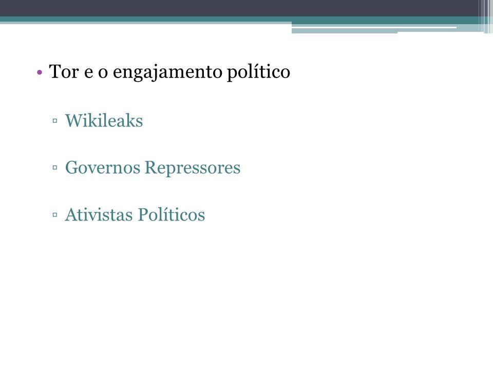 •Tor e o engajamento político ▫Wikileaks ▫Governos Repressores ▫Ativistas Políticos