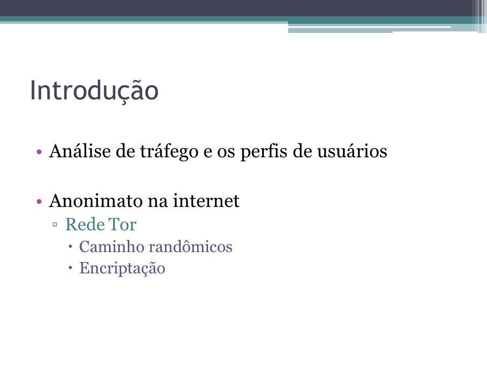 Introdução •Análise de tráfego e os perfis de usuários •Anonimato na internet ▫Rede Tor  Caminho randômicos  Encriptação