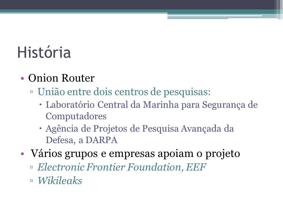 História •Onion Router ▫União entre dois centros de pesquisas:  Laboratório Central da Marinha para Segurança de Computadores  Agência de Projetos de Pesquisa Avançada da Defesa, a DARPA • Vários grupos e empresas apoiam o projeto ▫Electronic Frontier Foundation, EEF ▫Wikileaks