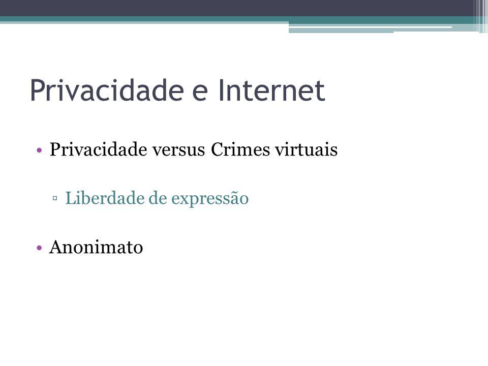 Privacidade e Internet •Privacidade versus Crimes virtuais ▫Liberdade de expressão •Anonimato