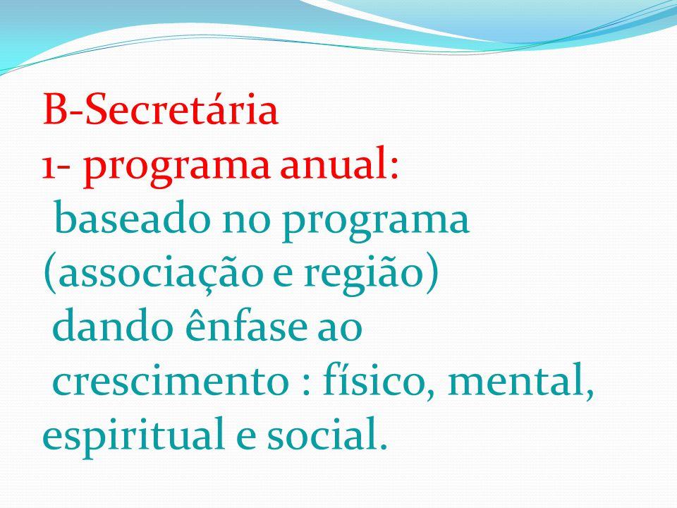 B-Secretária 1- programa anual: baseado no programa (associação e região) dando ênfase ao crescimento : físico, mental, espiritual e social.