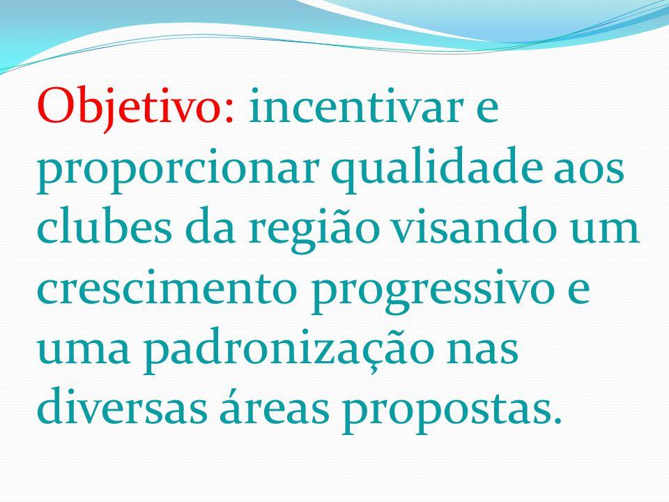 Objetivo: incentivar e proporcionar qualidade aos clubes da região visando um crescimento progressivo e uma padronização nas diversas áreas propostas.