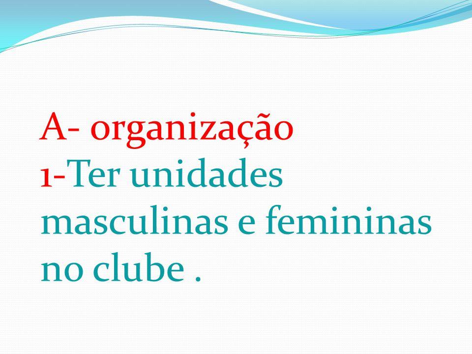 A- organização 1-Ter unidades masculinas e femininas no clube.
