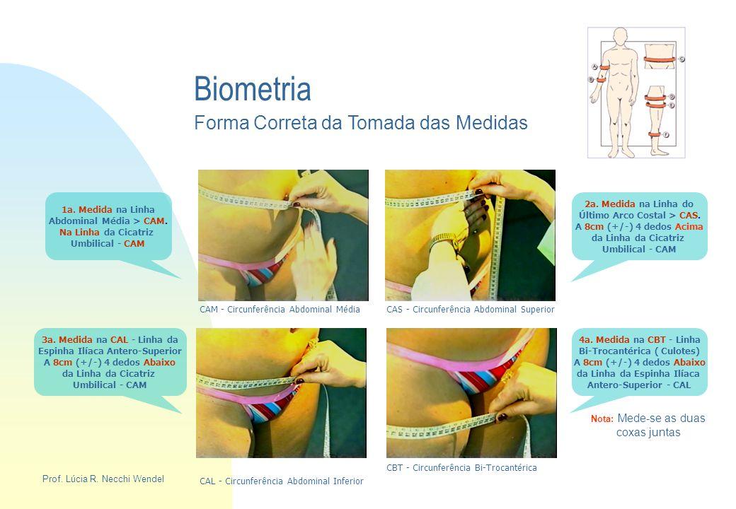 Biometria Forma Correta da Tomada das Medidas 1a. Medida na Linha Abdominal Média > CAM. Na Linha da Cicatriz Umbilical - CAM 2a. Medida na Linha do Ú