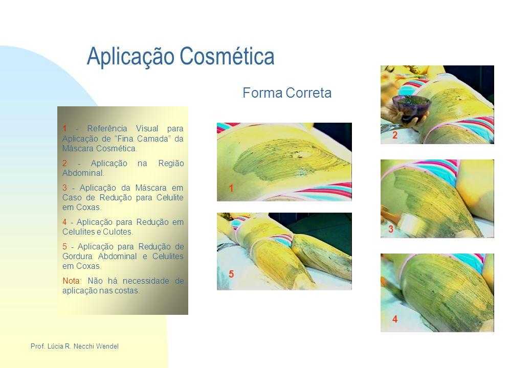"""Aplicação Cosmética Forma Correta 1 - Referência Visual para Aplicação de """"Fina Camada"""" da Máscara Cosmética. 2 - Aplicação na Região Abdominal. 3 - A"""