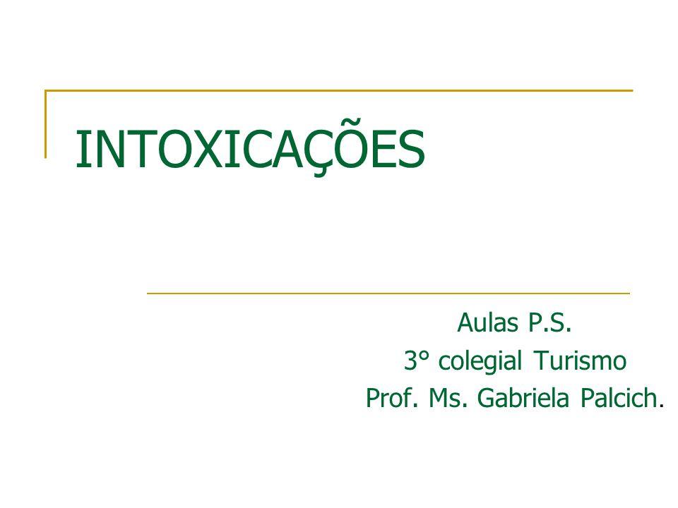 INTOXICAÇÕES Aulas P.S. 3° colegial Turismo Prof. Ms. Gabriela Palcich.