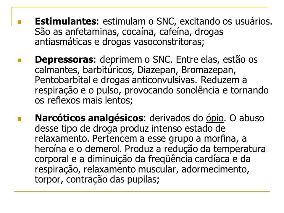  Estimulantes: estimulam o SNC, excitando os usuários. São as anfetaminas, cocaína, cafeína, drogas antiasmáticas e drogas vasoconstritoras;  Depres