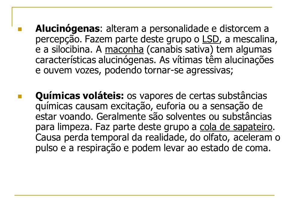  Alucinógenas: alteram a personalidade e distorcem a percepção. Fazem parte deste grupo o LSD, a mescalina, e a silocibina. A maconha (canabis sativa