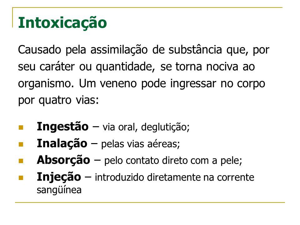Intoxicação Causado pela assimilação de substância que, por seu caráter ou quantidade, se torna nociva ao organismo. Um veneno pode ingressar no corpo